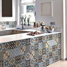 Vinilo decorativo autoadhesivo con diseño de azulejos portugueses de la colección Belém (12 unidades) (15 x 15 cm cada uno)