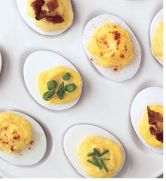 Deviled Egg Tip - turn egg carton upside down in fridge the night before (rubber band to keep lid closed).  The yolks will center.