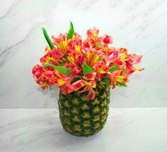 A Pineapple Vase Floral Arrangement is Super Easy to Make