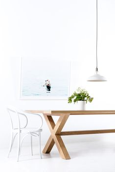 The White American Oak Cross Leg Dining table Scandinavian Design