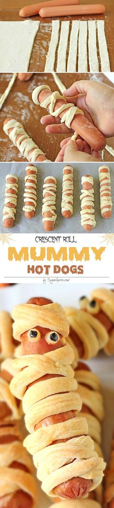 Crescent Roll Mummy Hot Dogs - Aren't they scary sweet? #doghelp
