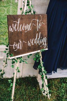 Rustic DIY Farm Wedding in Princeton, West Virginia. Rustic 'Welcome to Our Wedding' wooden ceremony sign. Photo by Jasmine White Photography. Farm Wedding, Wedding Signs, Summer Wedding, Wedding Stuff, Fairytale Weddings, Real Weddings, Wedding Reception Decorations, Wedding Venues, Reception Ideas