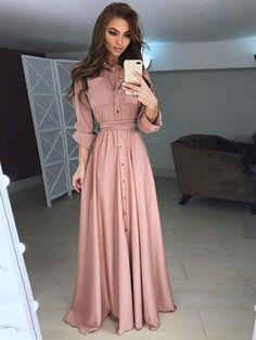 15 Vestidos largos tan lindos que soñarás con ellos Slim Fit Dresses, Modest Dresses, Modest Outfits, Simple Dresses, Casual Dresses For Women, Maxi Dresses, Wedding Dresses, Dress Outfits, Elegant Dresses