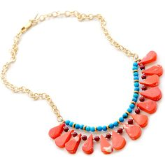 "Jasmine Necklace Coral, Jade, Turquoise Howlite, And Gold Vermeil. 17-18"" long."