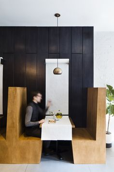 This bright and small modern restaurant is filled with natural light and a simple black and white color palette with a few wood details. Cafe Shop Design, Coffee Shop Interior Design, Restaurant Interior Design, Restaurant Interiors, Modern Restaurant, Restaurant Tables, Black Subway Tiles, Greek Restaurants, Booth Seating