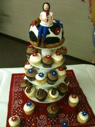 cute country baby shower cake- love the top and the cupcakes would be so much easier to serve