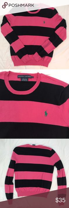 Ralph Lauren Pink and Navy Striped Sweater This size large Ralph Lauren sweater is in very good used condition.  It is pink and navy with a small polo horse logo in green embroidered on it.  Made of Italian yarn, it is 100% pima cotton.  Bust 18, Length 21.5.  From a smoke free, pet friendly home. Ralph Lauren Sweaters Crew & Scoop Necks