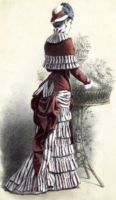 Middle bustle Dress: During the middle of the bustle era the weight in the dress moves down to below the knees and the silhouette becomes very form fitting. It also typically has dark colors and trains start to come back again because of all of the weight.