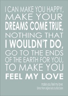 Make You Feel My Love Song Lyric Quote