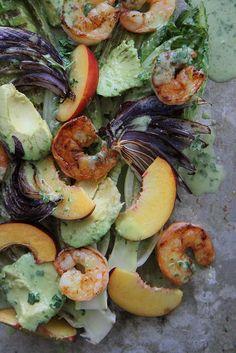 Grilled Romaine, Prawn, Avocado and Nectarine Salad with Jalapeno Vinaigrette by Heather Christo. Yum!