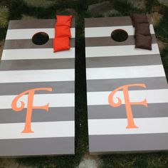 I am crafty!  My friend Kristen and I made these cornhole board for my Dad's mountain house!  They turned out great!