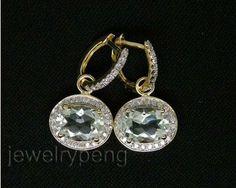Oval Cut Solid 14Kt Yellow Gold 7.42Ct VS Diamond wedding Green Amethyst Earrings Amazing