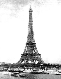 Vintage photo of the Eiffel Tower in Paris, France.
