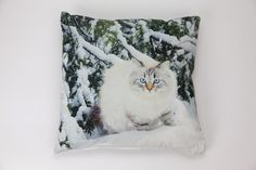 Capa de Almofada Gato na Neve 50 x 50 cm   A Loja do Gato Preto   #alojadogatopreto   #shoponline   referência 26866403