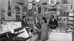 interiør fra gammel butikk i Oslo på 1950-tallet