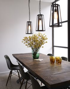The Hex pendant light by Davey Lighting is a box lantern style pendant with 6 internally glazed sides. Retro Dining Rooms, Dining Room Lamps, Dining Room Lighting, Dining Area, Davey Lighting, Cool Lighting, Lighting Design, Btc Lighting, Lighting Ideas