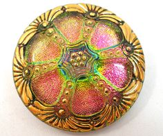 XL Czech Glass button Strawberry lime sparkle by OldeTymeNotions, $7.25