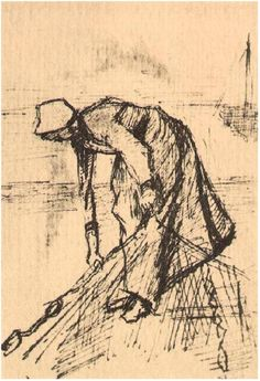 Vincent van Gogh Drawing, Pen The Hague: January - 5 or 6, 1883 Van Gogh Museum Amsterdam, The Netherlands, Europe F: 911v, JH: 320 Image Only - Van Gogh: Stooping Woman with Net