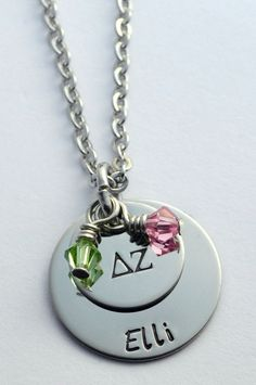 Sorority Necklace - Sorority Jewelry - Hand stamped Sorority necklace -