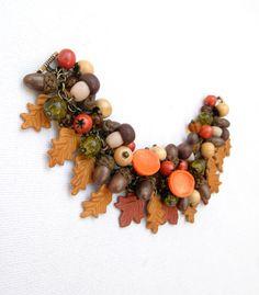 Champignons bracelet - glands, l'automne, chute des feuilles bracelet fait main - bracelet à breloques-