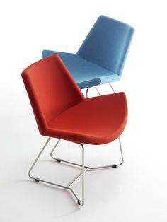 Lotus lounge chair from HighTower - The Lotus lounge chair, from design team Busk  Hertzog, is a comfortable guest chair with stainless steel sled or swivel base (auto return standard for swivel base). The seat made of molded high resilience foam. The family of products also includes the Lotus sofa and table.  For more info. please visit Powerlines at www.powerlines-usa.com.