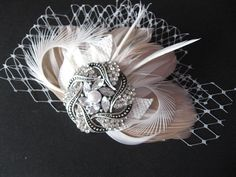 Feather vintage burlap fascinator with tulle Bridal by LeFlowers
