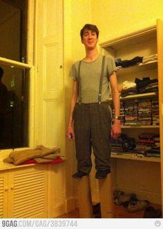 7 feet tall guy dressed as regular guy on stilts... Mindf**k