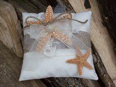 Beach Ring Pillow Starfish Ring Bearer Beach Wedding by OneFunDay, $25.00