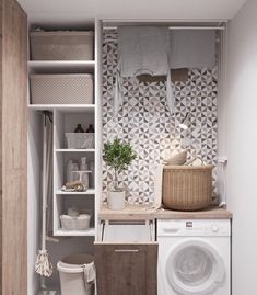 Who says that having a small laundry room is a bad thing? These smart small laundry room design ideas will prove them wrong. Small Laundry Rooms, Laundry Room Organization, Laundry In Bathroom, Small Rooms, Small Bathroom, Bathroom Storage, Bathroom Ideas, Laundry Hamper, Bathroom Layout