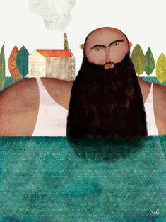 The island man. Sergio Gontz. Illustration.