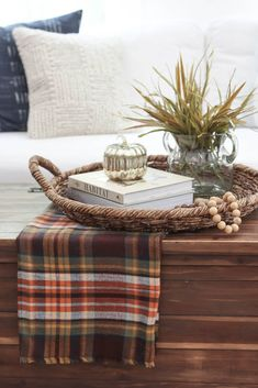 Fall Decor Hack & a GIVEAWAY! / Coffee table decorated for fall with plaid, fall… Fall Decor Hack & a GIVEAWAY! / Coffee table decorated for fall with plaid, fall decor, throw pillows, and living room. Coffee Table Vignettes, Coffee Table Styling, Coffe Table, Decorating Coffee Tables, A Table, Coffee Table Decorations, Fall Home Decor, Autumn Home, Home Decor Trends