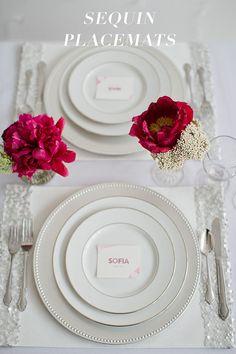 Sequin Placemats   25 Lazy Couple Wedding DIY Ideas