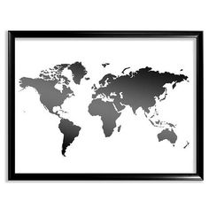 Contemporary attractive and charming map wall art world map printable world map map print black and white map wall decor map poster large silhouette world map poster instant download gumiabroncs Gallery