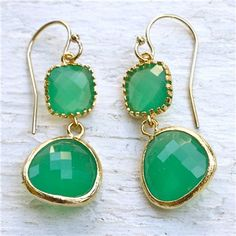 New! Drops of Jupiter India Green Gold Earrings @LaylaGrayce