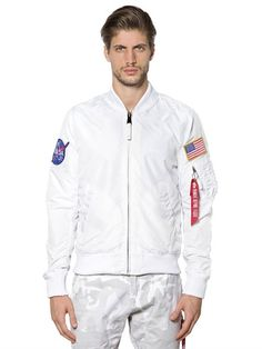 ALPHA INDUSTRIES Ma-1 Tt Nasa Reversible Bomber Jacket, White. #alphaindustries #cloth #casual jackets