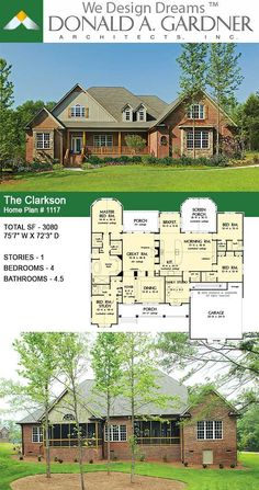For families that want a large square-footage with the convenience of one floor, this house plan encompasses all that is luxury one-story living. The massive utility area provides room for more than just washing clothes, while the screen porch with cathedral ceiling adds nice architectural detail. The Clarkson House Plan 1117.  #wedesigndreams #dongardnerarchitects #houseplans #homeplans #floorplans #onestory #craftsman #ranch New House Plans, Country House Plans, Dream House Plans, House Floor Plans, My Dream Home, Instagram Planer, Open Concept House Plans, Craftsman Exterior, Craftsman Ranch