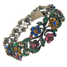 Sterling Silver and Paste Floral Link Bracelet; Germany c.1920