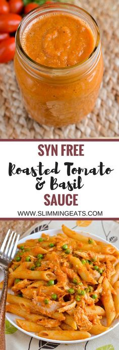 Slimming Eats Syn Free Roasted Tomato and Basil Sauce - gluten free dairy free v. - Slimming Eats Syn Free Roasted Tomato and Basil Sauce – gluten free dairy free vegetarian Slimmin - Slimming World Dinners, Slimming World Recipes Syn Free, Slimming Eats, Vegan Slimming World, Slimming World Lunch Ideas, Slimming World Pasta, Slimming Word, Veggie Recipes, Pasta Recipes