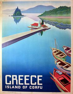 Vintage poster promoting travel to the Island of Corfu, Greece