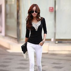 New Fashion Womens T-shirt Long Sleeve Lace Crochet Stitching Tee Tops Blouse  - EXCLUSIVE DEAL! BUY NOW ONLY $5.09