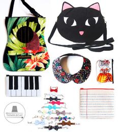 The one with the handmade guitar and cat face bag, bow bracelets, peter pan collars, and various purses.