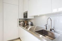 Newport Project: Integrated Sub-Zero Freezer Ikea Kitchen Design, Modern Kitchen Design, Kitchen Layout, Kitchen Decor, Kitchen Cabinets Parts, Kitchen Countertop Options, White Kitchen Cabinets, Kitchen Showroom, Kitchen Interior