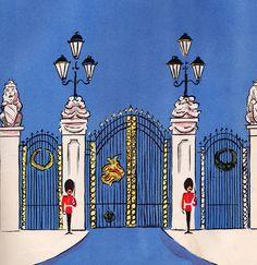 Illustration of guards at Buckingham Palace gates. London Illustration, Illustration Art, Union Jack, Don Freeman, Little Paris, Royal Guard, Harrods, Thinking Day, London Calling