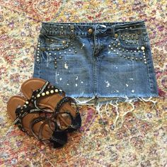 Blue Jean Studded Mini Skirt Adorable blue jean cutoff mini skirt with silver and bronze studs 11 inches from top to bottom Forever 21 Skirts Mini