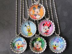 The perfect Mousekatool for your Child's Birthday Party! Mickey and Friends bottle cap necklaces~