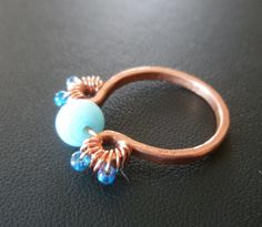 Sweet Little Blue Bead Hammered Copper Ring by IvyTalagaDesigns