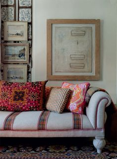 Eclectic Decor - Patterned throw pillows atop a couch with plaid stripes in front of a gallery wall Living Room Photos, My Living Room, Living Spaces, Interior Design Books, Interior Styling, Deco Boheme, Piece A Vivre, Bohemian Interior, Eclectic Decor