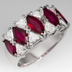 Stunning Red Ruby & Diamond Wide Band Ring 18K