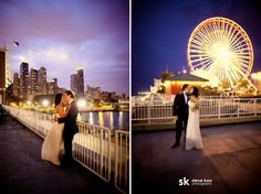 Ferris wheel pics and skyline pics. Good place: aquarium, can see the whole skyline and navy peir from there.