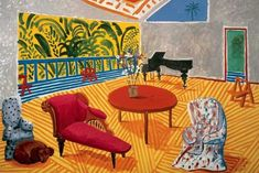 """David Hockney, Interior with Sun and Dog, 1988; oil on canvas; 60"""" x 72""""; Doris and Donald Fisher Collection; © David Hockney."""
